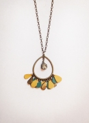 Teardrop Recycled Leather Necklace in Turquoise and Ochre with Pyrite Dangle Bead