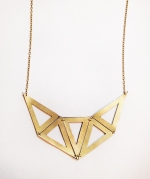 Geometric Mirrored Triangle Recycled Leather Necklace in Painted Gold