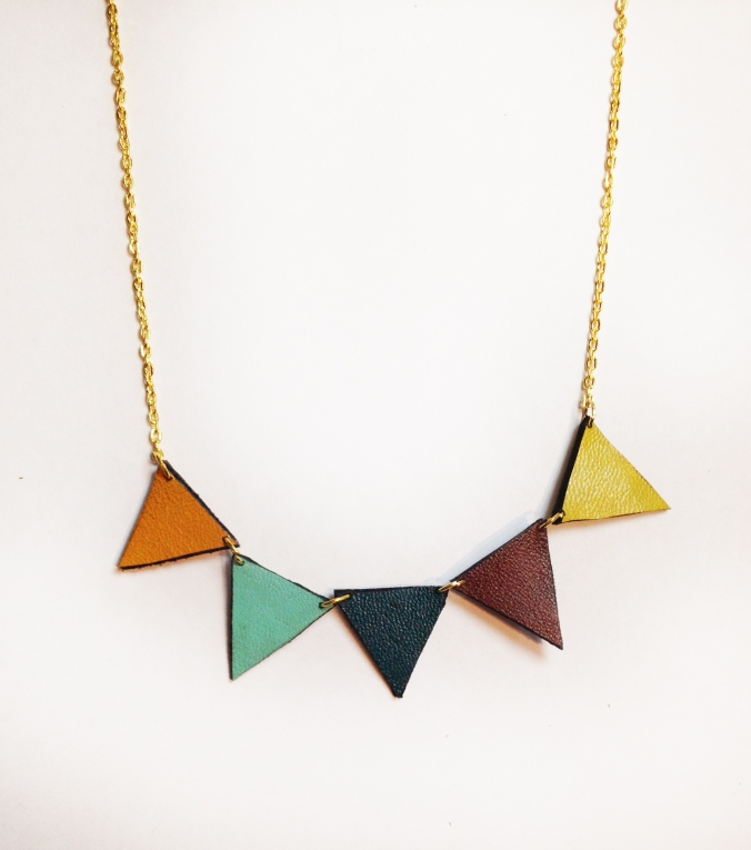 Rainbow Pride Pennant Bunting Necklace- Recycled Leather