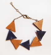 Tan & Navy Handcut Recycled Leather Triangle Chain Bracelet