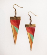 Kaleidoscope Handpainted Recycled Leather Pennant Earrings