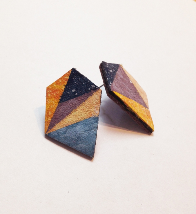 Galaxy Prism Handpainted Recycled Leather Polygon Stud Earrings