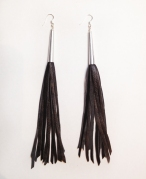 Silver Capped Long Leather Tassel Fringe Earrings