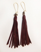 Burgundy Tassel Fringe Leather Earrings with Pyrite Beads